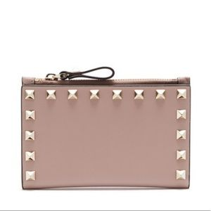 VALENTINO Rockstud leather card and coin purse